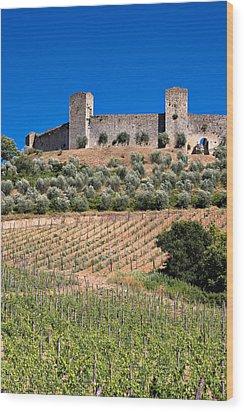 Medieval Walled Village Of Monteriggioni Chianti Tuscany Italy Wood Print by Mathew Lodge