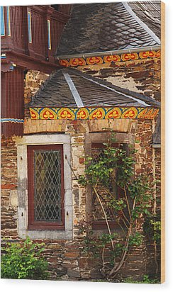 Medieval Window And Rose Bush In Germany Wood Print by Greg Matchick
