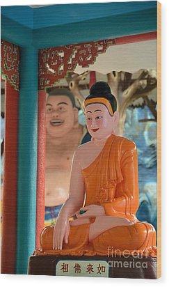 Meditating Buddha In Lotus Position Wood Print by Imran Ahmed