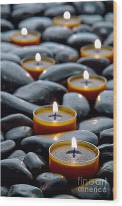 Meditation Candles Wood Print