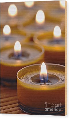 Meditation Candles Path Wood Print by Olivier Le Queinec