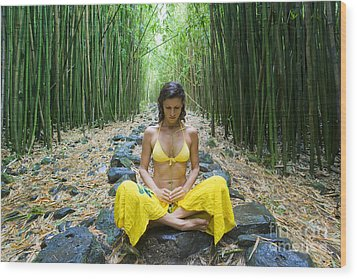 Meditation In Bamboo Forest Wood Print by M Swiet Productions