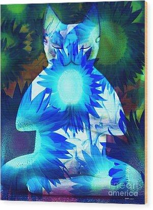 Meditation Kitty / Midnight Meditations On The Blue Sunflower Wood Print by Elizabeth McTaggart