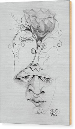 Meditation On The Crown Chakra Or Where Is Your Mind Going Surrealistic Fantasy Of Face With Energy  Wood Print