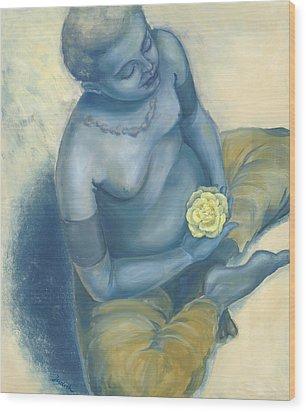 Meditation With Flower Wood Print by Judith Grzimek
