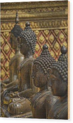 Meditators Wood Print by Karen Walzer