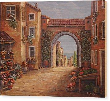 Mediterranean Bazaar Wood Print
