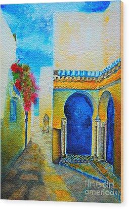 Mediterranean Medina Wood Print by Ana Maria Edulescu