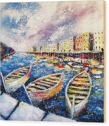 Mediterranean Port Colours Wood Print