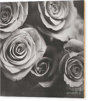 Medium Format Analog Black And White Photo Of White Rose Flowers Wood Print by Edward Olive