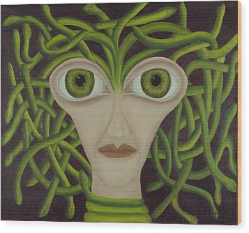 Medusa In Purple Wood Print by Coqle Aragrev