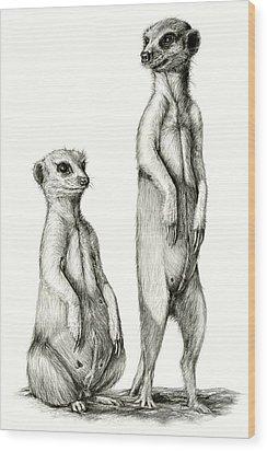 Meerkatte Wood Print by Heidi Kriel