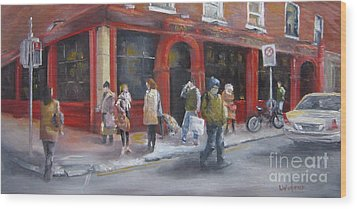 Meet Me At The Corner Bar Wood Print by Leah Wiedemer