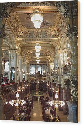 Meet Me For Coffee - New York Cafe - Budapest Wood Print by Lucinda Walter