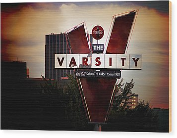 Meeting At The Varsity - Atlanta Icons Wood Print by Mark E Tisdale