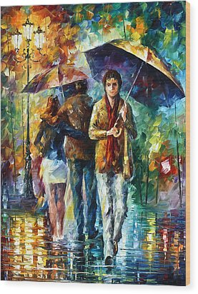 Meeting My Ex Wood Print by Leonid Afremov