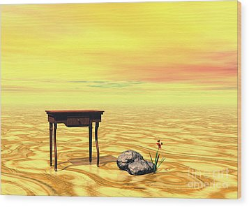 Wood Print featuring the digital art Meeting On Plain - Surrealism by Sipo Liimatainen
