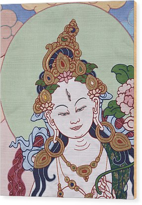 Meeting White Tara Wood Print by Leslie Rinchen-Wongmo