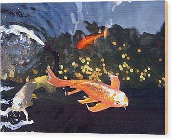 Meetings On The Riverbank Wood Print by Patricia Januszkiewicz
