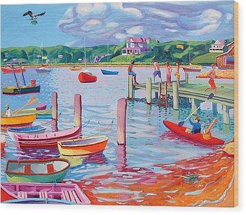 Megansett Dock With Osprey Wood Print by Sean Boyce