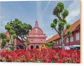 Melaka Red Square Wood Print by Adrian Evans