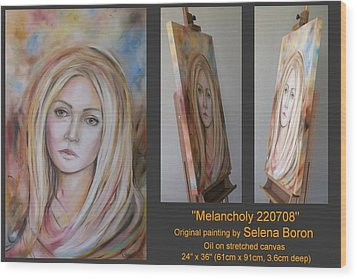 Wood Print featuring the painting Melancholy 220708 by Selena Boron