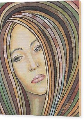Wood Print featuring the painting Melancholy 300308 by Sylvia Kula
