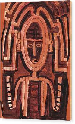 Melanesian Icon Wood Print by Anne-Elizabeth Whiteway