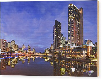 Melbourbe Skyline And Yarra River At Twilight Square Wood Print by Colin and Linda McKie
