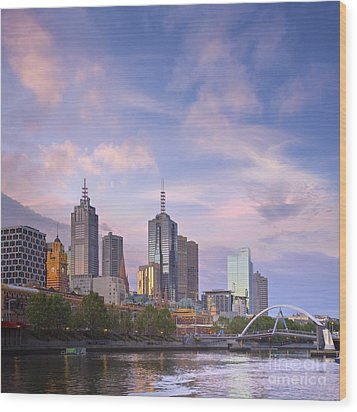 Melbourne Skyline Twilight Square Wood Print
