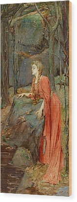 Melisande Wood Print by Henry Meynell Rheam