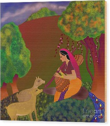 Wood Print featuring the digital art Melodious-ragamala by Latha Gokuldas Panicker