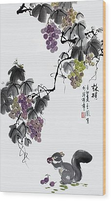 Wood Print featuring the painting Melody Of Life II by Yufeng Wang