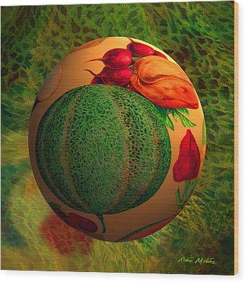 Melon Ball  Wood Print by Robin Moline