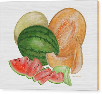 Wood Print featuring the painting Melons  by Nan Wright