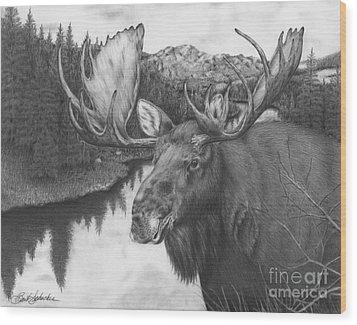Melozi River Moose Wood Print