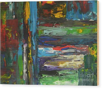 Wood Print featuring the painting Melted Crayons by Everette McMahan jr