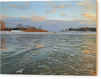 Melting Ice At Dusk Wood Print by Charline Xia