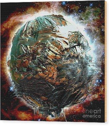 Melting Planet Wood Print by Bernard MICHEL