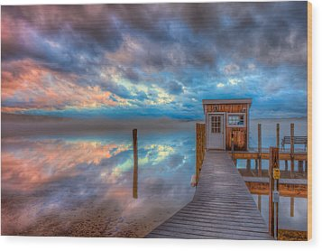 Melvin Village Marina In The Fog Wood Print by Brenda Jacobs
