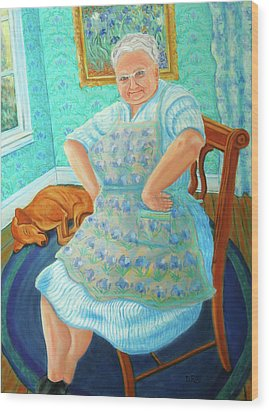 Wood Print featuring the painting Memere by Dwain Ray