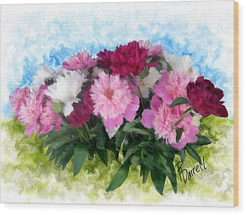 Memorial Day Peonies Wood Print