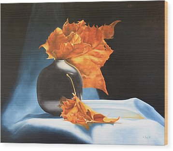 Memories Of Fall - Oil Painting Wood Print
