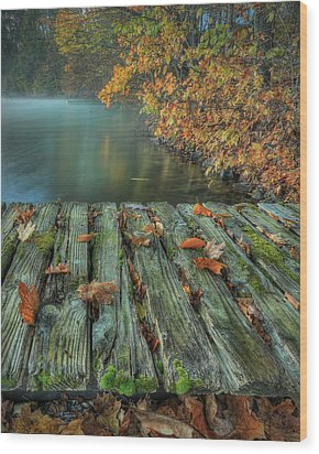 Memories Of The Lake Wood Print by Jaki Miller