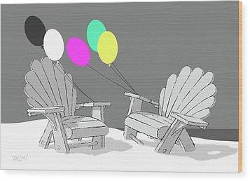 Wood Print featuring the digital art Chair Talk by Tom Dickson