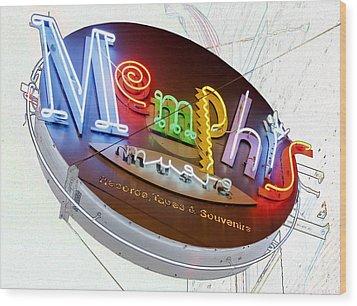 Memphis Sign Wood Print