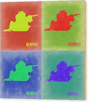 Memphis Pop Art Map 2 Wood Print by Naxart Studio