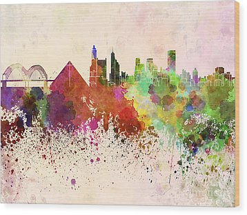 Memphis Skyline In Watercolor Background Wood Print by Pablo Romero