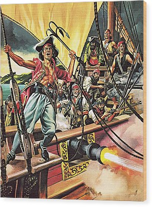 Men Of The Jolly Roger Wood Print by Ron Embleton