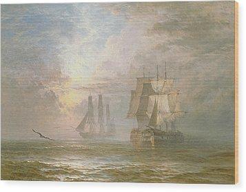 Men Of War At Anchor Wood Print by Henry Thomas Dawson